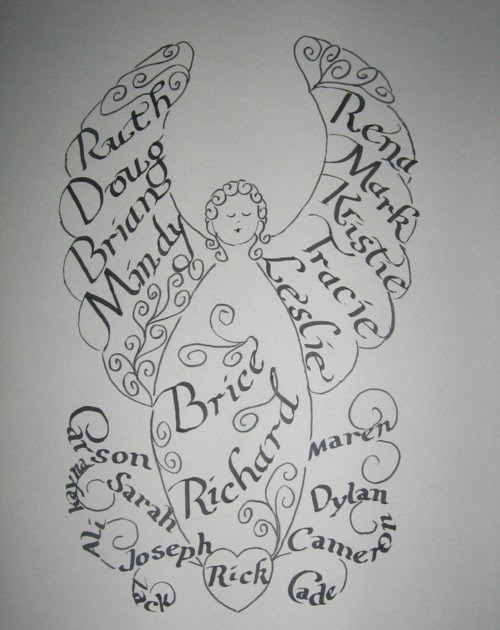 Artistry of calligraphy angel