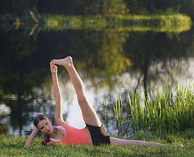 leongal's yoga space anantasana  side reclining leg lift