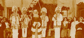 The Mummers, as remembered by Thomas Hardy for the Mummers' play in the 'Return of the Native' performed in Dorchester in 1920. The Frome Valley Morris based theirs costumes, on the ones used by the Hardy players, originally designed from a sketch by Hardy.