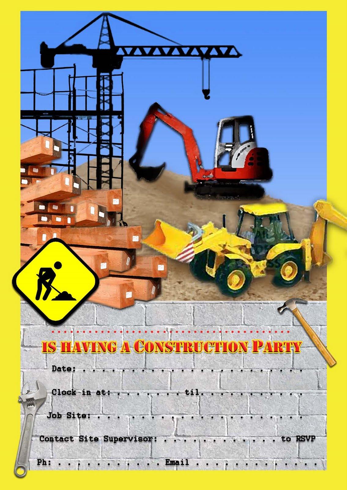 Free Kids Party Invitations Construction Party Invitation