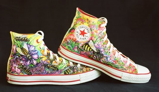 Paper Airplane Design Hand Decorated Sneakers