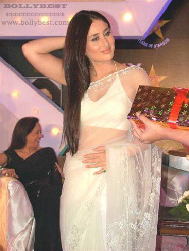 White Saree modelled by Kareena