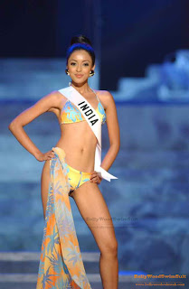 Tanushree Dutta in bikini at the swimsuit round of Miss Universe competition