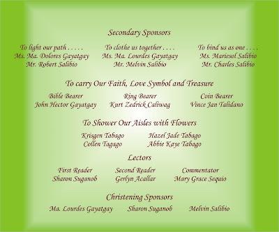 sample wedding invitation list sponsors