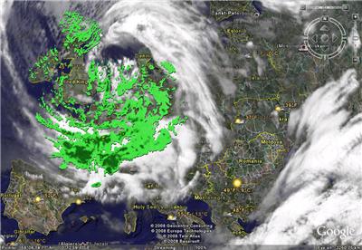 Radarový snímek Evropy
