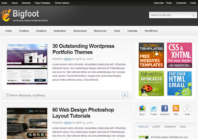 Bigfoot Wordpress Theme Free Download.