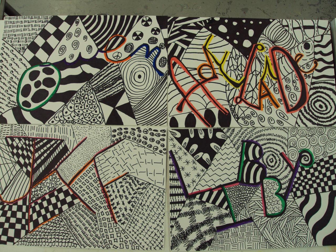 Name Art: Think Create Art: Name Designs- 6th Grade