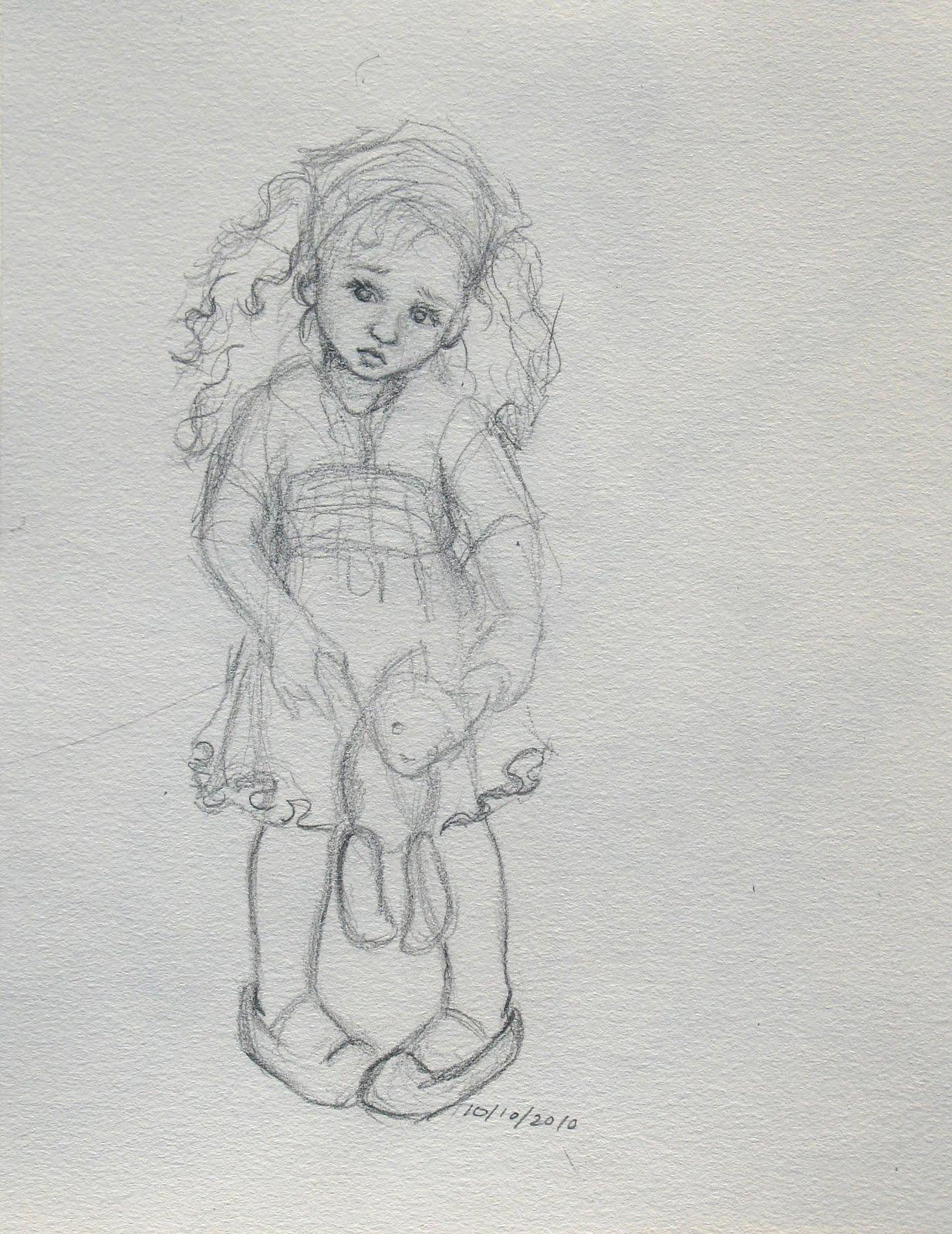 Sad Little Girl Sketches | www.pixshark.com - Images ...
