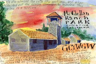 Watercolour postcard by California artist Geowomyn_SF_CA