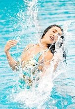 rituparna wet in swimming pool