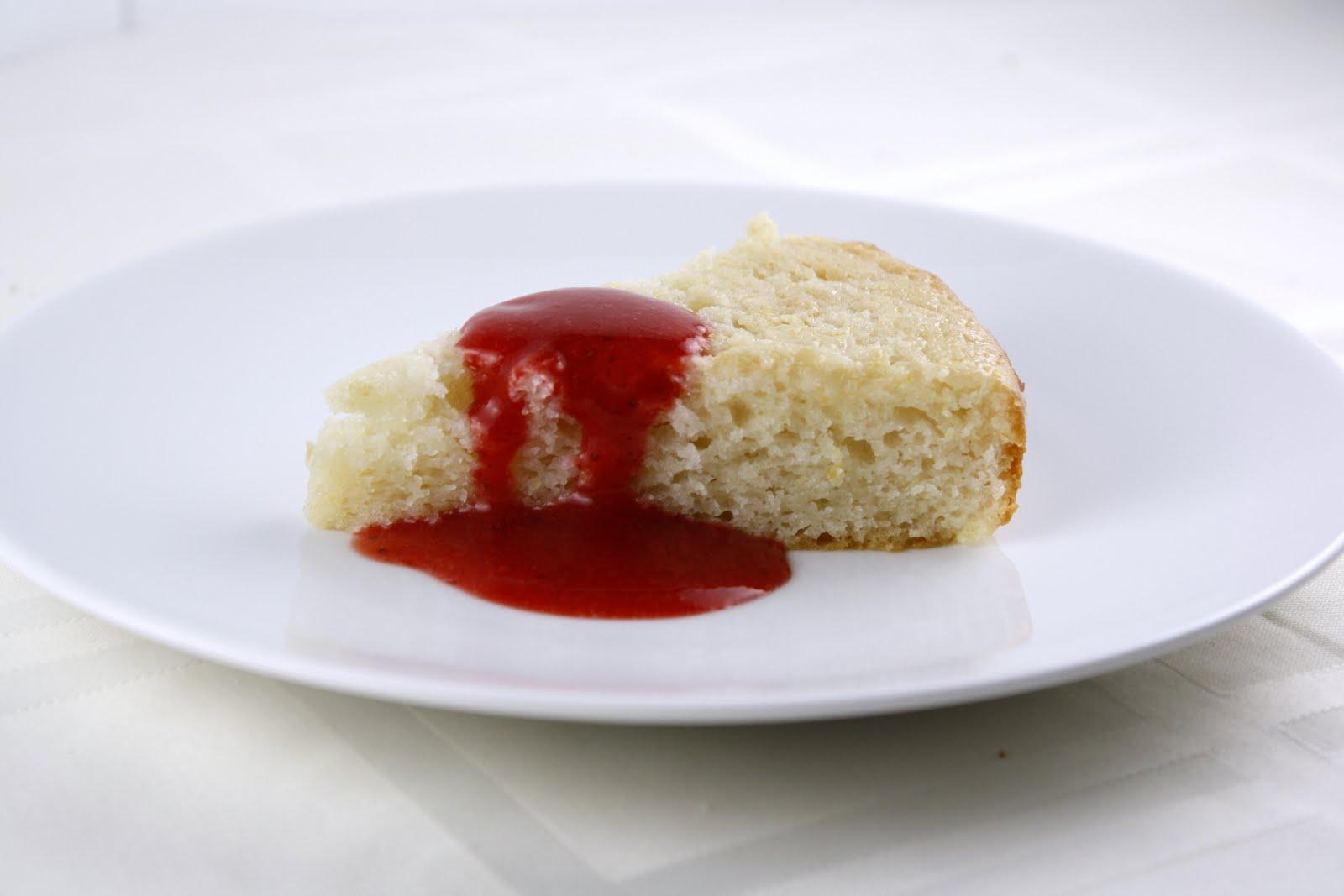 Lemon Yogurt Cake With Strawberry Coulis What Megan S Making