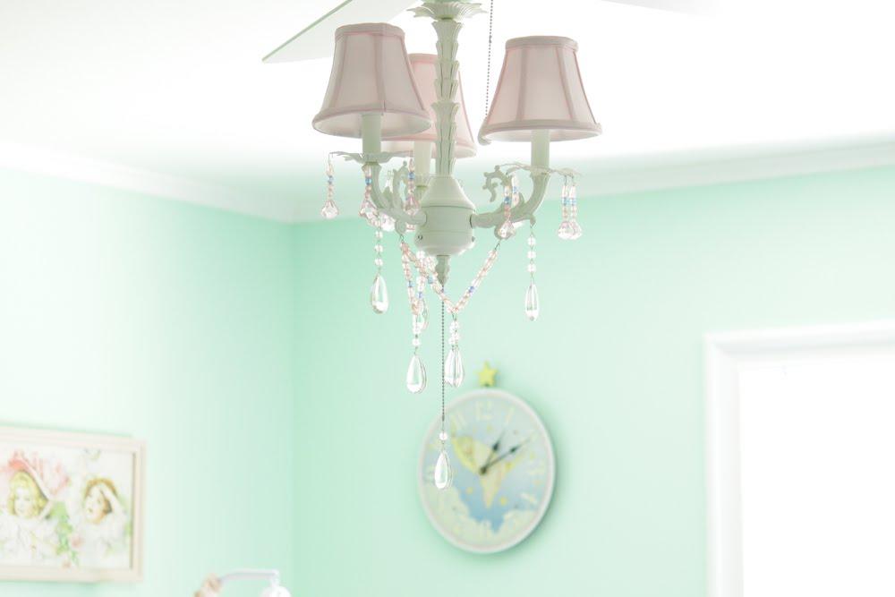 Ceiling Fan Chandelier Combo Ink and Elm: Penny's Vintage Inspired Aqua Nursery