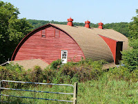 The cow barn on Howland Homestead Farm, South Kent, CT, seen from the west