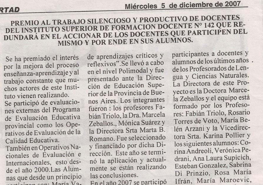 Instituto superior de formacion docente n 142 peri dico for Instituto formacion docente