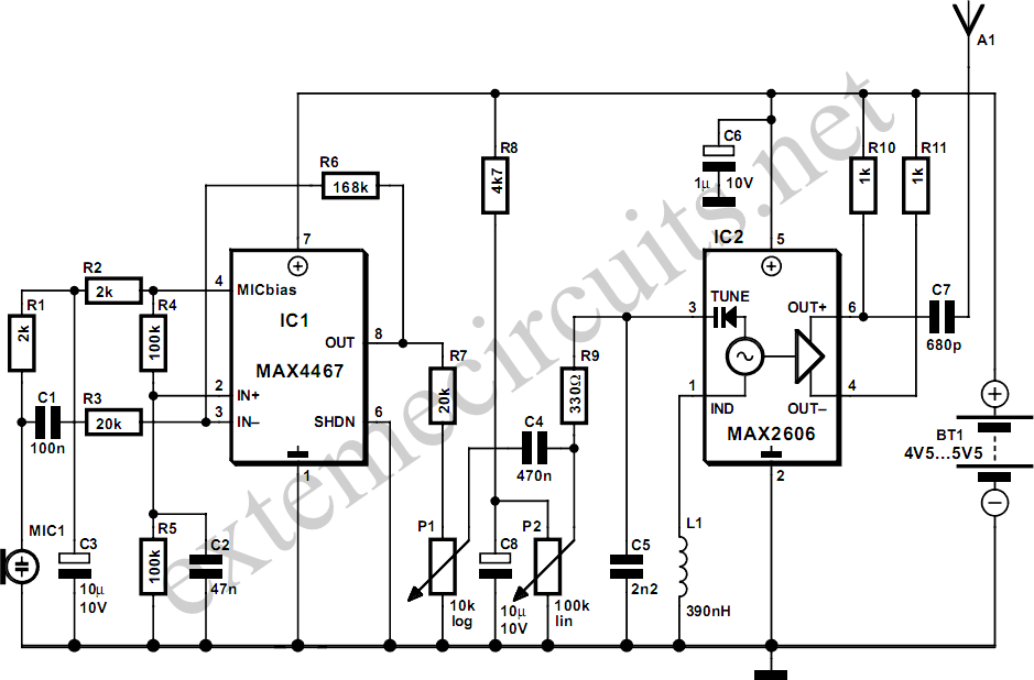 Ampcircuits Wireless Transmitter Microphone Circuit