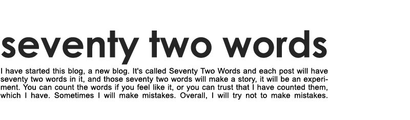 SEVENTY TWO WORDS