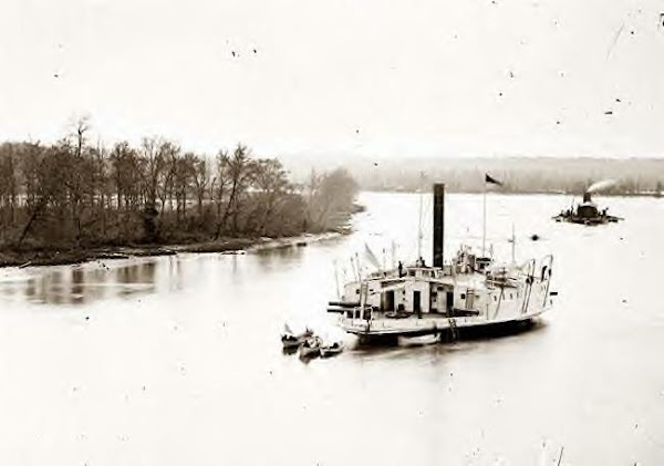 Gunboat Commodore Perry & Monitor on James River. 1861