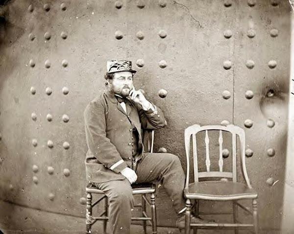 Capt. William Nicholson Jeffers on deck of USS Monitor, James River, Va., 1862