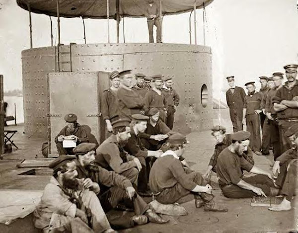 Sailors on deck of the USS Monitor 1862
