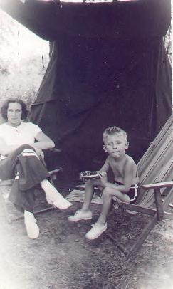 Jerry with mother, Bessie Veon on a camping trip, circa 1939