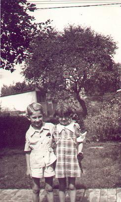 two pictures of Jerry with cousin, Louise Bogard, late 1930s