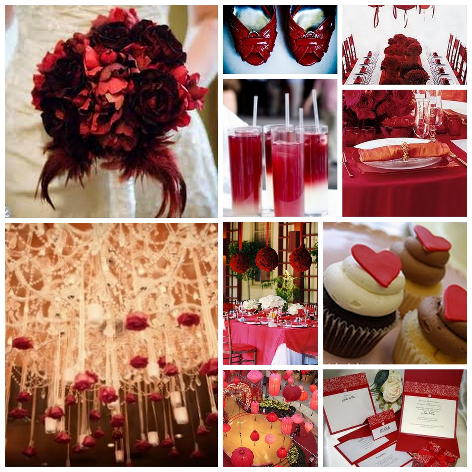 Red And White Table Decorations For A Wedding