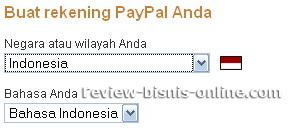 Pilih Bahasa dan Negara di PayPal