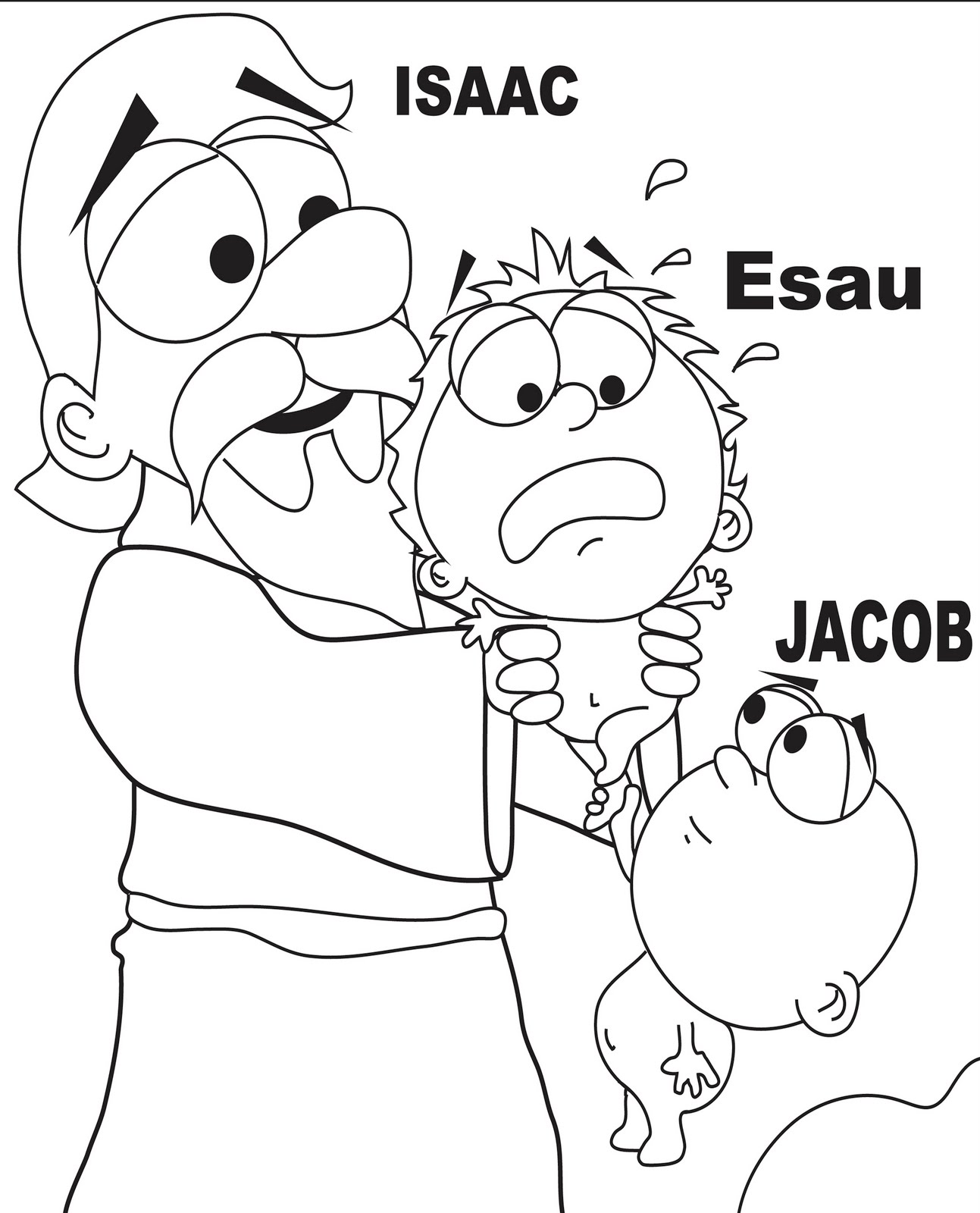 isaac and rebekah coloring page - mr biblehead the twins jacob and esau genesis 25
