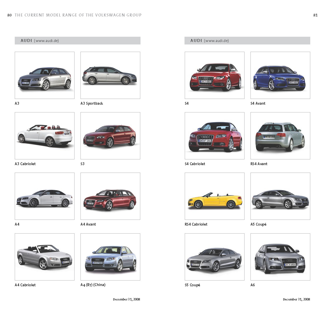 Mostcar123321: Complete List Of VW Group's 178 Models Sold