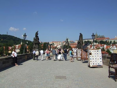 walking on The Charles Bridge in Prague