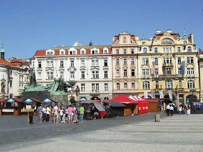 colorful buildings on the old Town Square in Prague