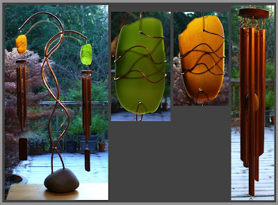 windchime, freestanding, large, beach glass, copper