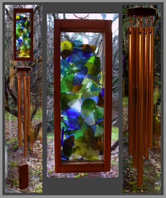 wind chime, stained glass, sea glass, copper, Tim Kline
