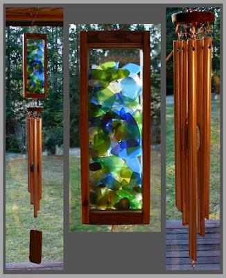 windchime, chime, beach glass, sea glass, copper, cedar, kaleidoscope, Tim Kline