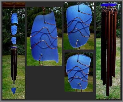 windchime, cobalt blue, beach glass inspired, copper