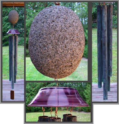 art windchime, stone, glass, copper, Tim Kline