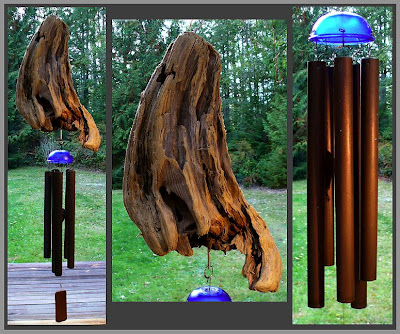 driftwood windchime, glass, copper, artist tim kline