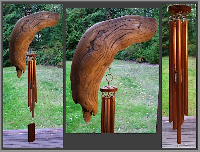 windchime, driftwood, copper, art chime