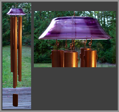 beautiful glass and copper wind chime, large, Tim Kline