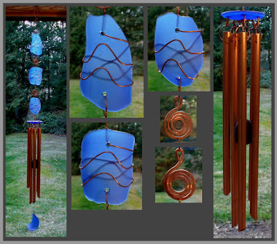 wind chime, windchime, beach glass inspired, copper, cobalt blue
