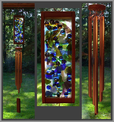 windchime, mixed media, marbles, beach glass, copper