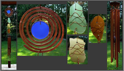 windchime, copper, beach sea glass, modern