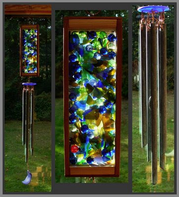 windchime, stained glass, copper, verdigris