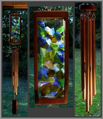 wind chime, stained glass, copper