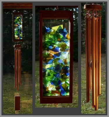 wind chime, beach glass, copper, wholesale