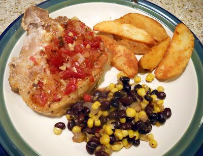 Roasted red pepper pork chops meal