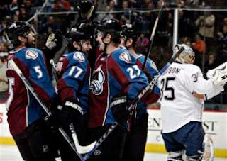 Avalanche celebrate Milan Hejduk's first period goal