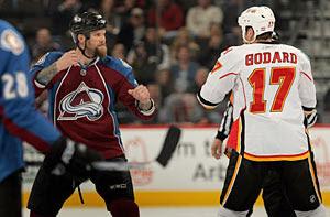 Scott Parker faces off with Eric Godard