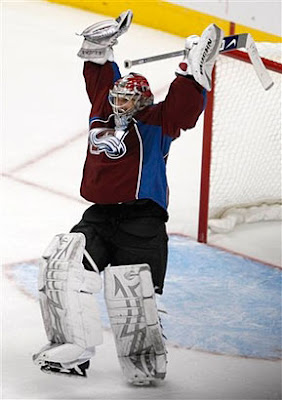 Jose Theodore celebrates the Colorado Avalanche victory over the Minnesota Wild in the western conference quarter finals