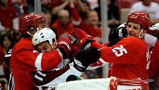 The Colorado Avalanche and Detroit Red Wings mix it up in the 2008 NHL Playoffs